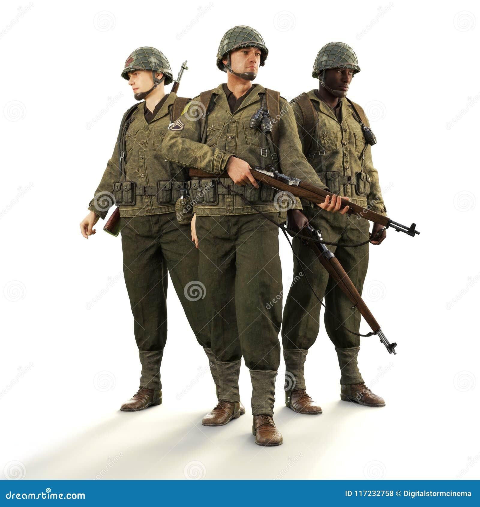 Ritratto di una squadra dei soldati americani di combattimento di guerra mondiale 2 in uniforme su un fondo bianco isolato