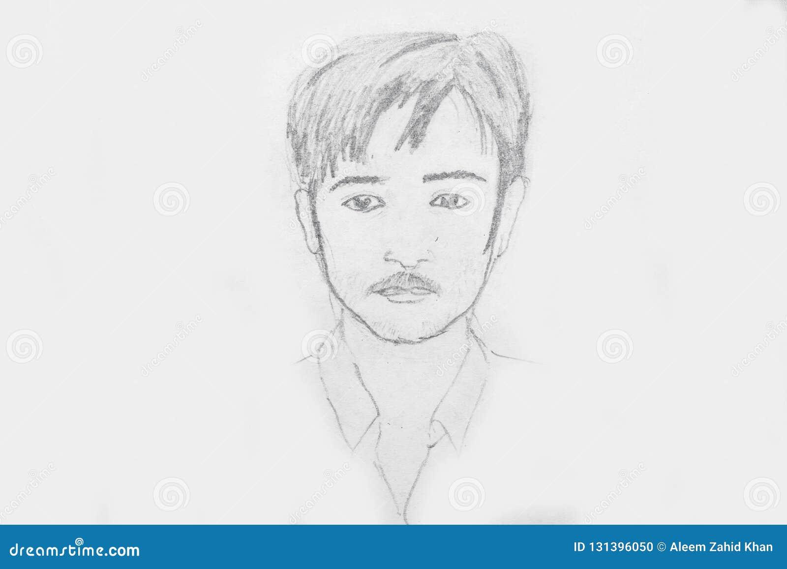 Ritratto disegnato a mano di un giovane