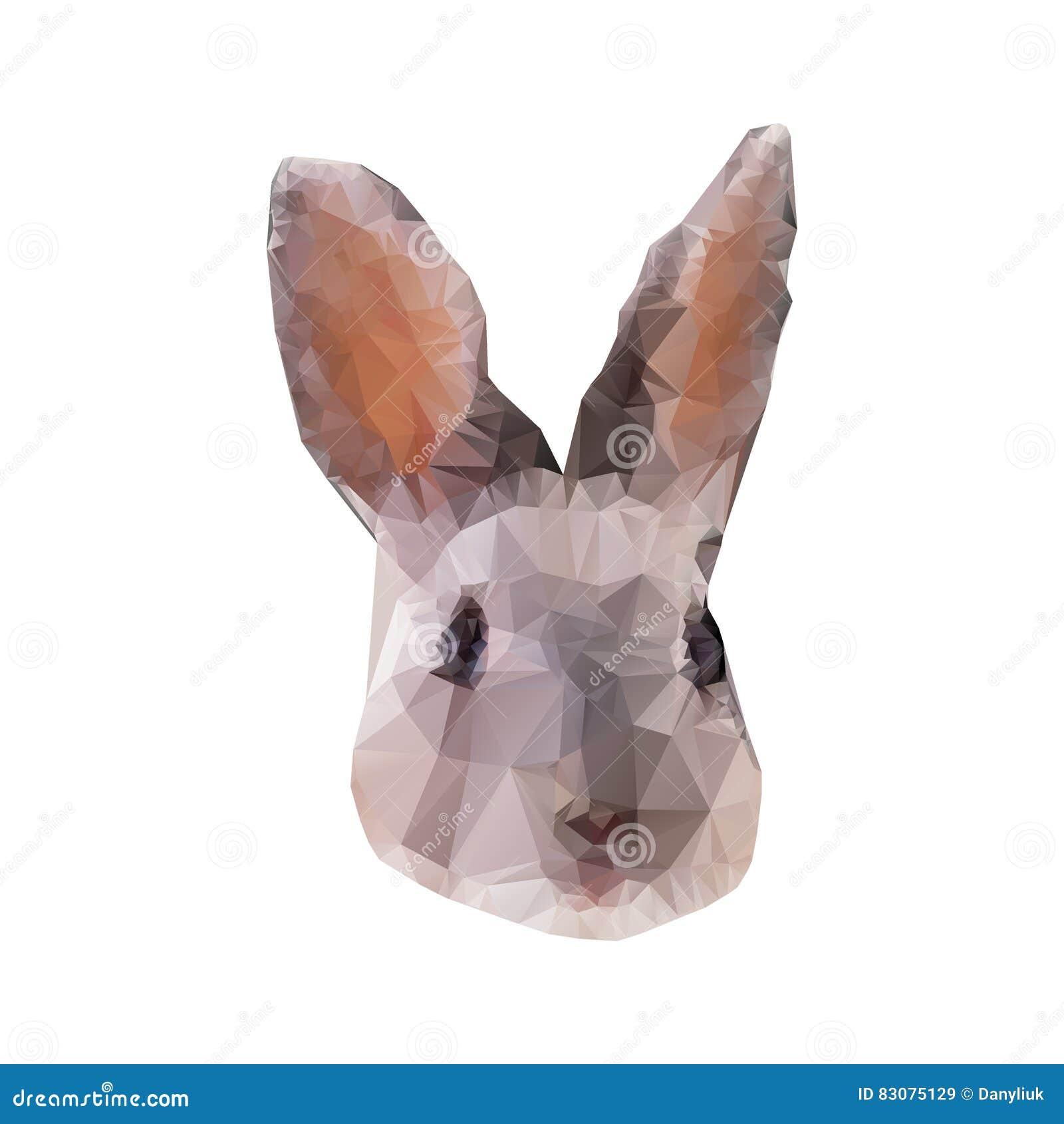 Ritratto grigio del coniglio in basso poli Illustrazione poligonale astratta