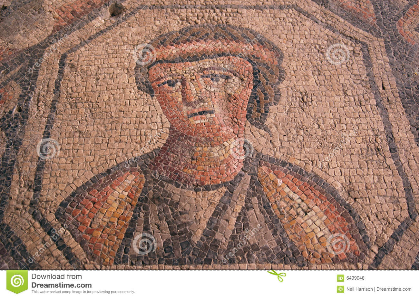 Ritratto romano di una donna triste in mosaico