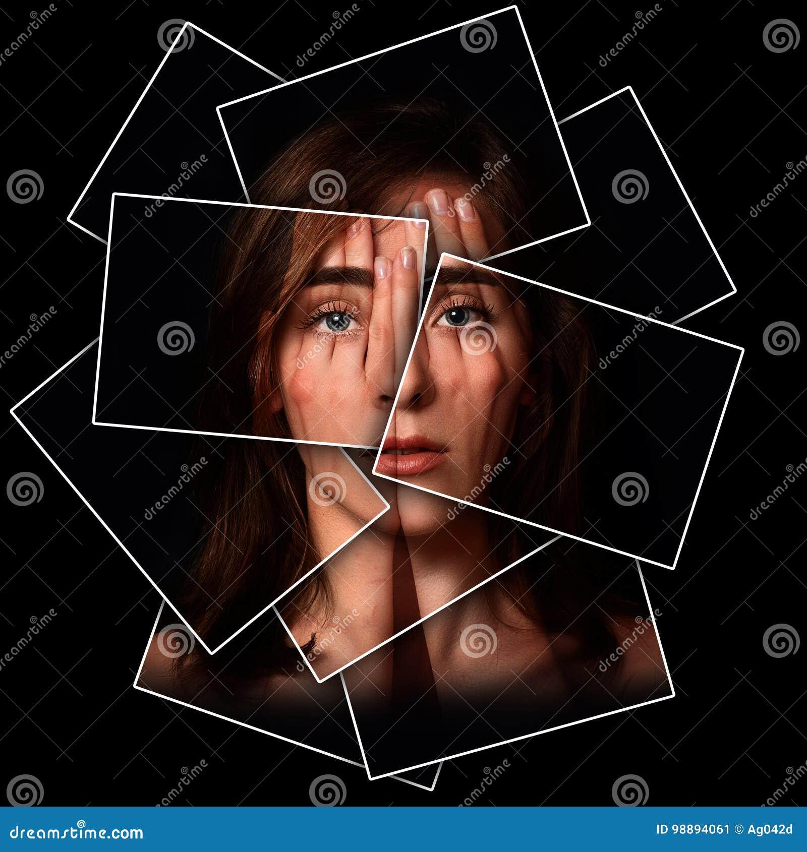 Ritratto surreale di una ragazza che copre il suoi fronte ed occhi