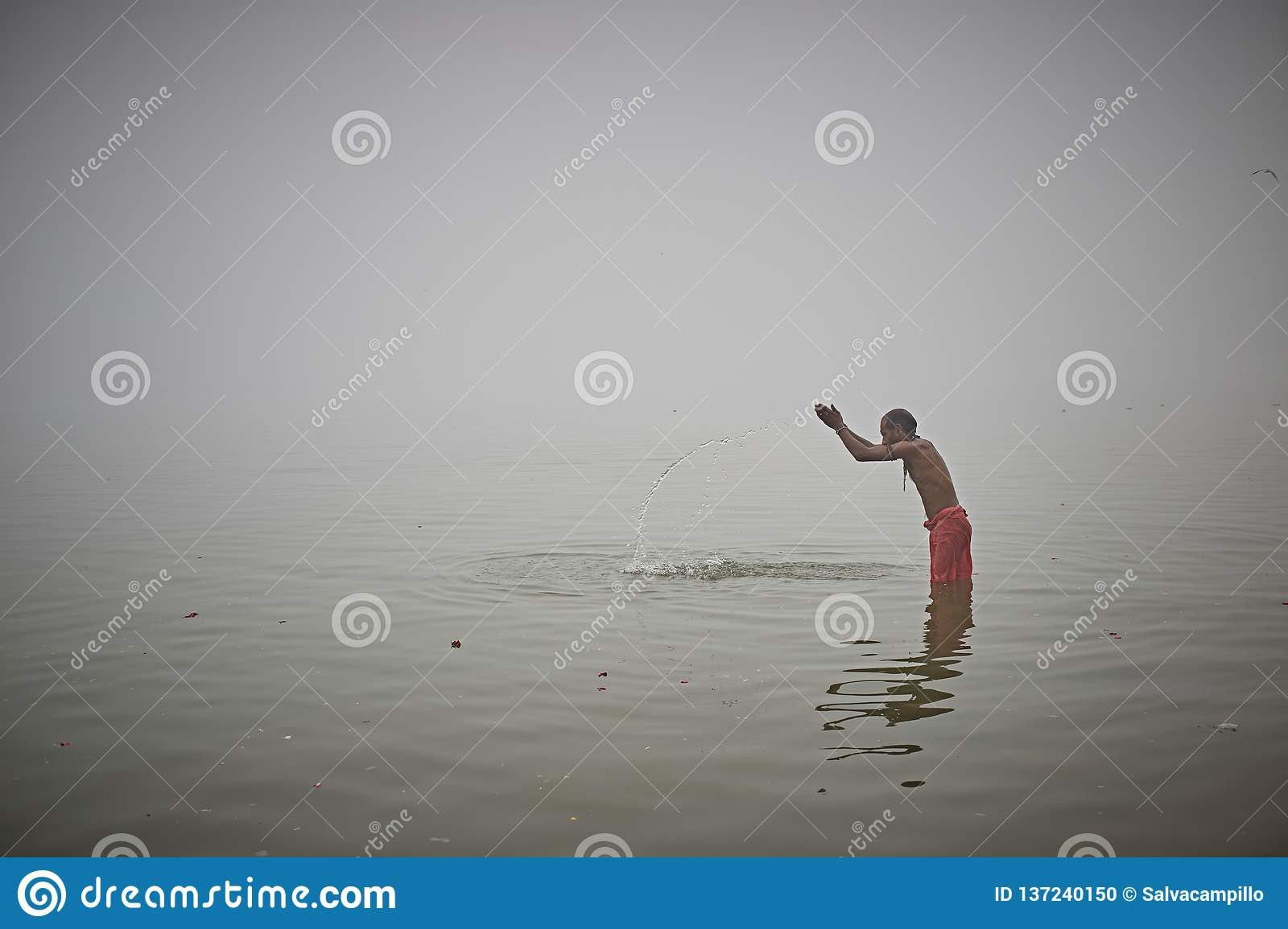 Ritual Bath In The Ganges River Editorial Image - Image of