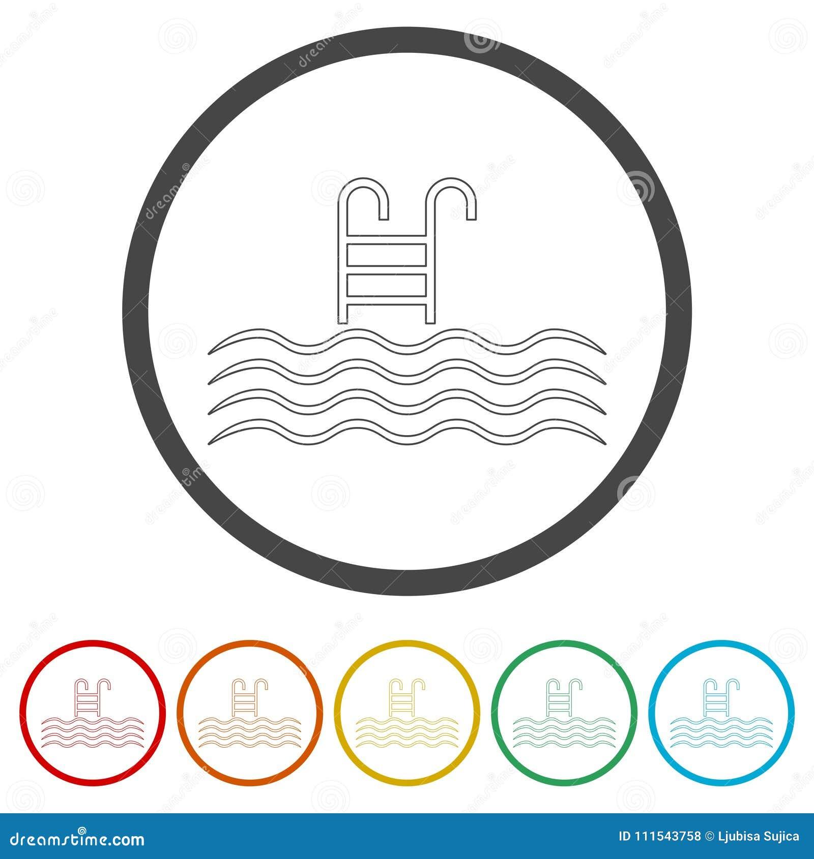 Riunisca l icona di vettore, piscina con l icona della scala, 6 colori inclusi