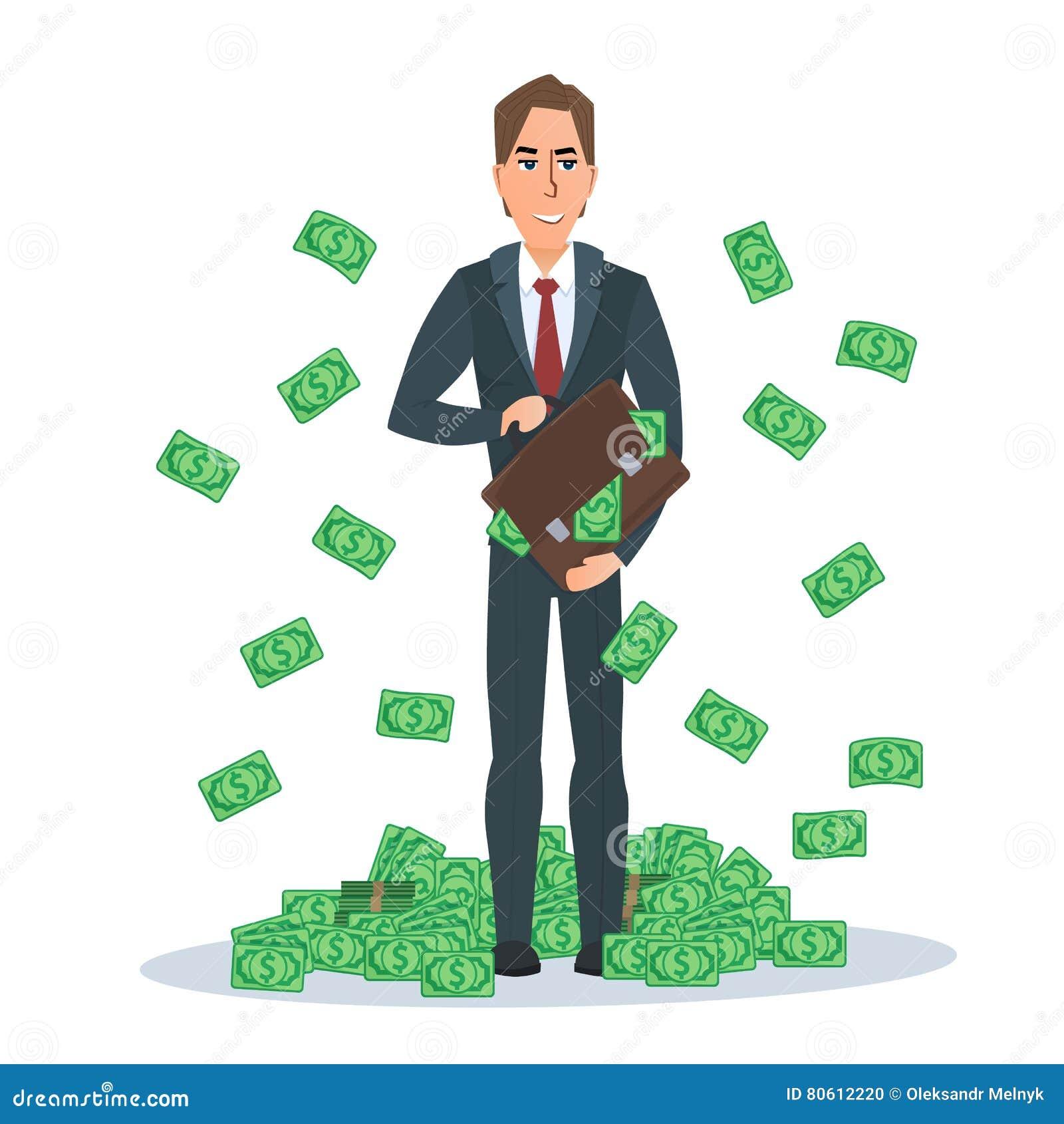 Riuscito uomo d affari che sta vicino ad un mucchio dei dollari dei soldi