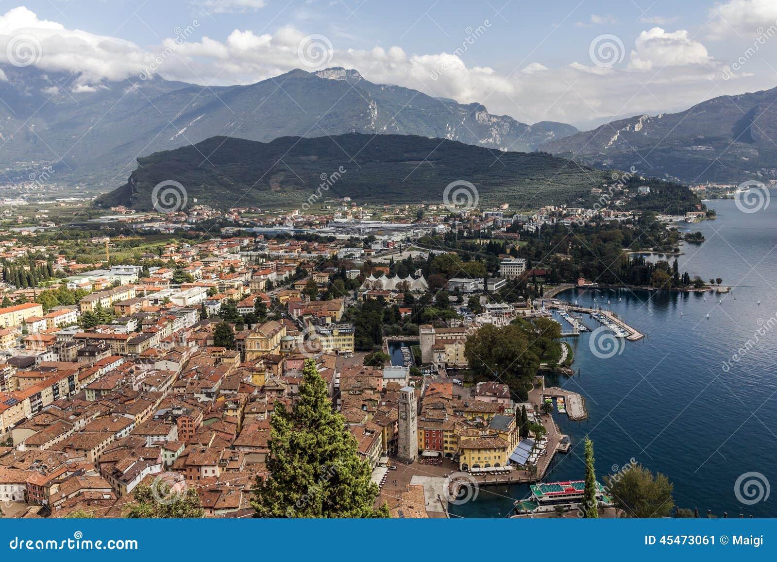 Download Riva Del Garda By Garda Lake Stock Image - Image of clouds, view: 45473061