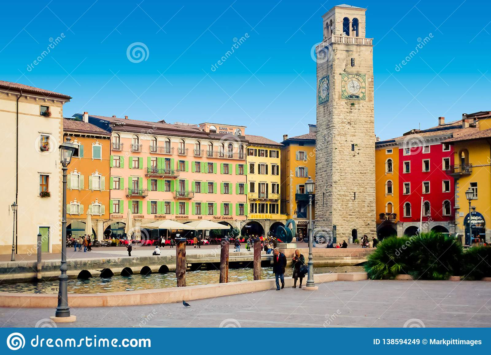 Riva del Garda square three November panoramic view
