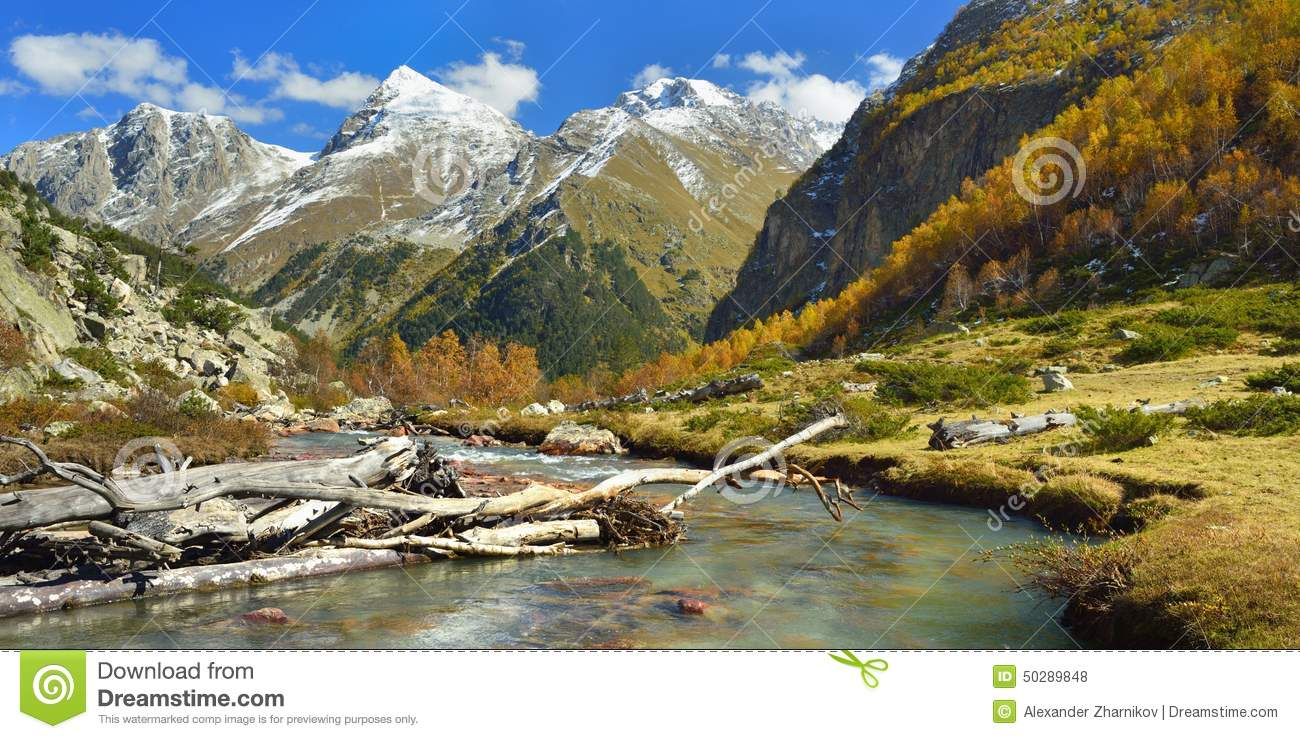 River in autumn mountains