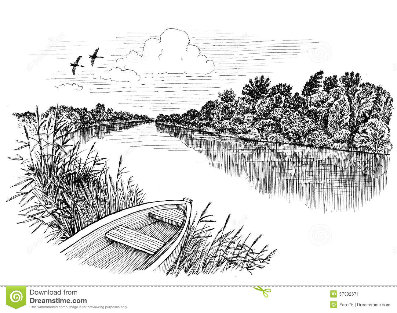 Line Drawing River : River boat stock illustration of paper