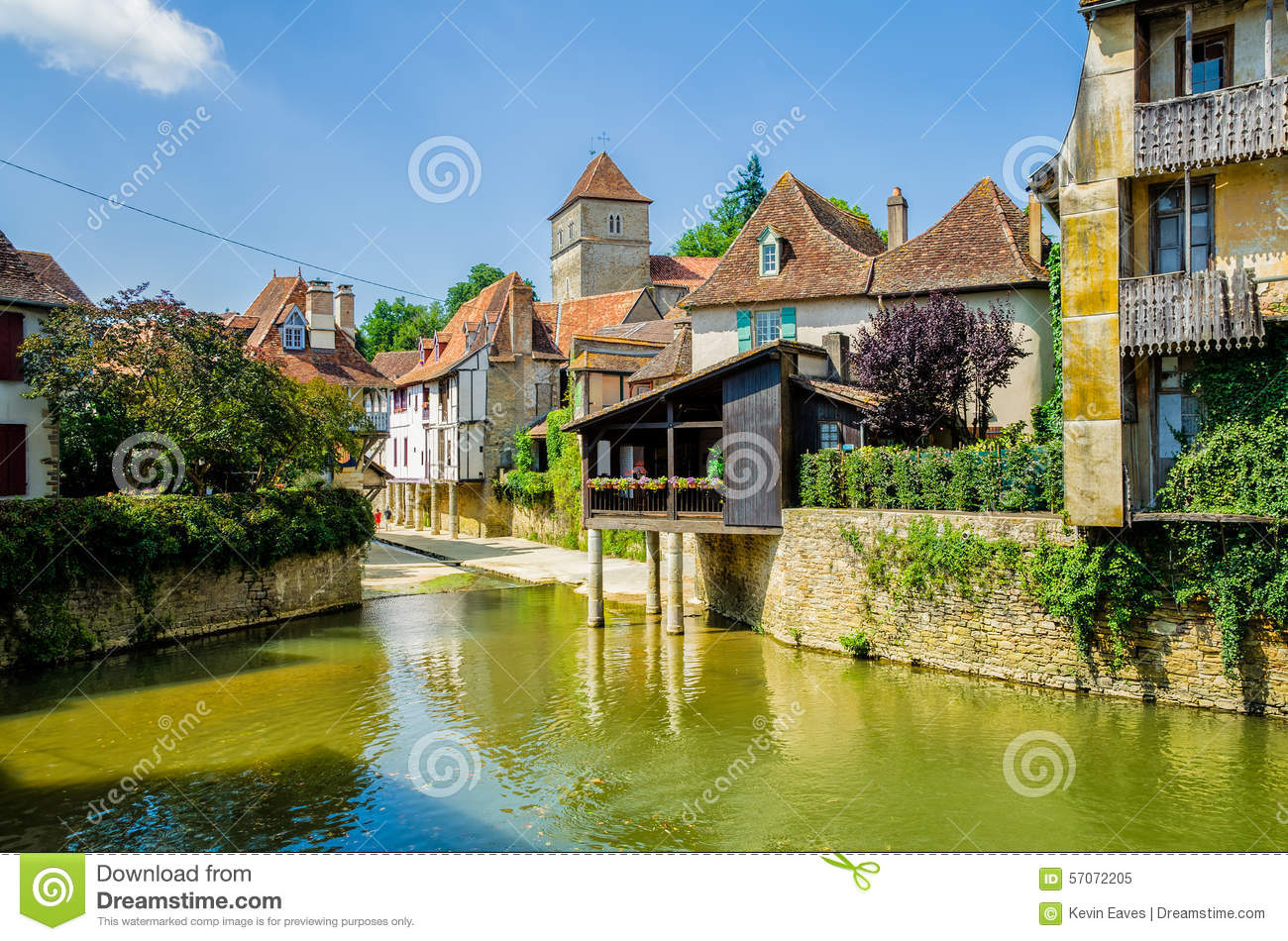 River And Buildings In Salies De Bearn, France. Stock ...