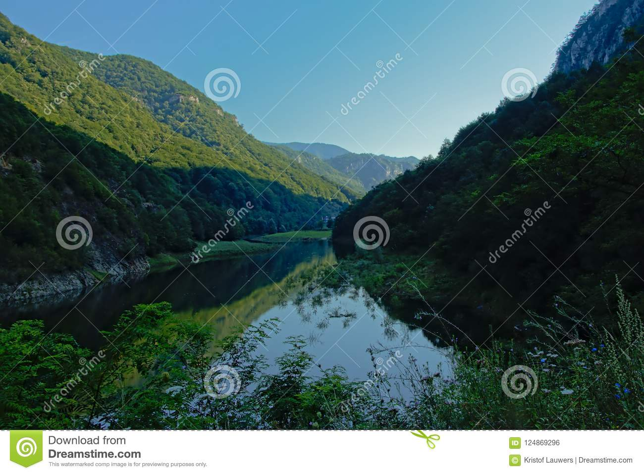 River Danube in between Romanian mountains in early morning light