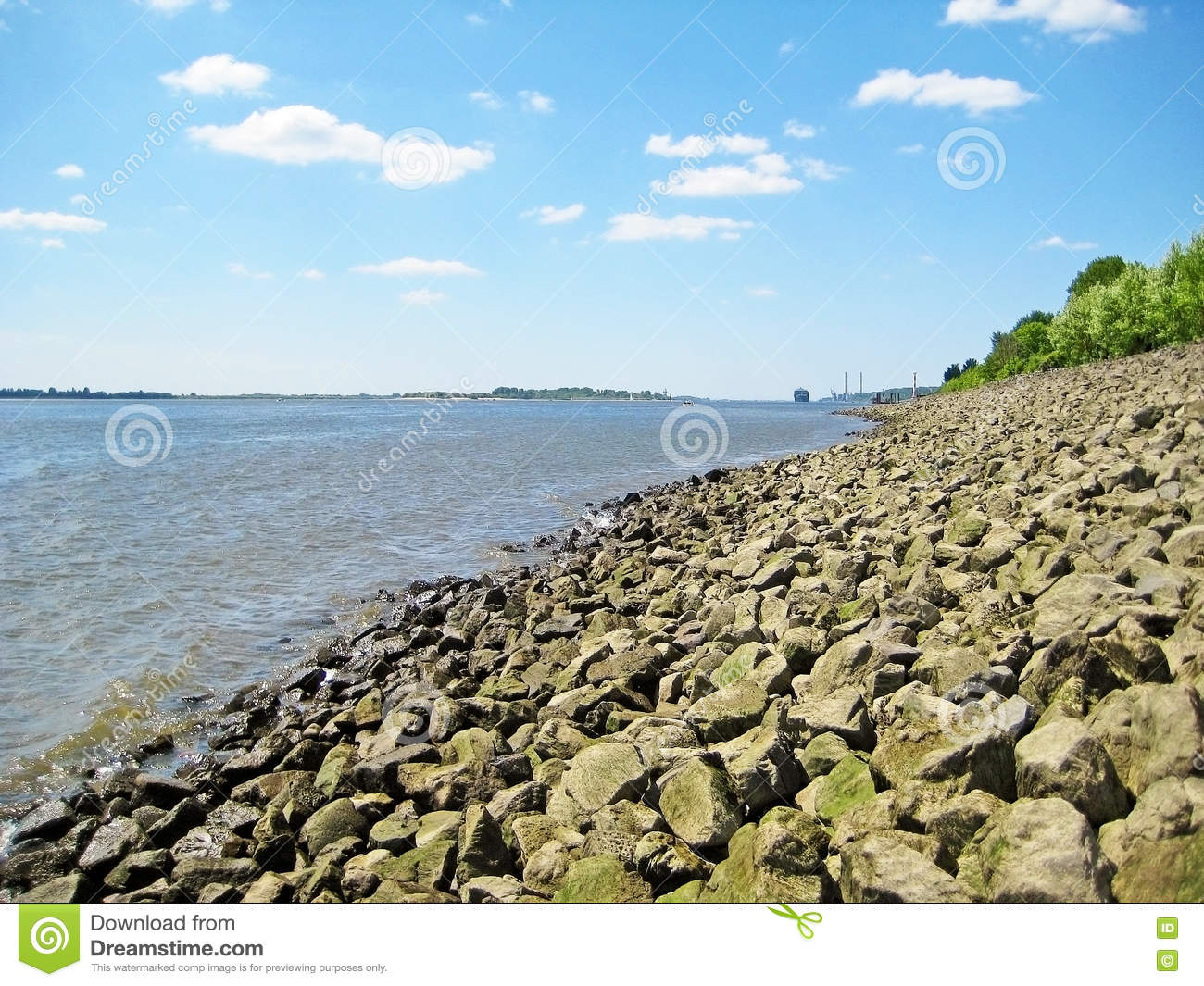 Stock photo hamburg germany riverside new - River Elbe Hamburg Riverside