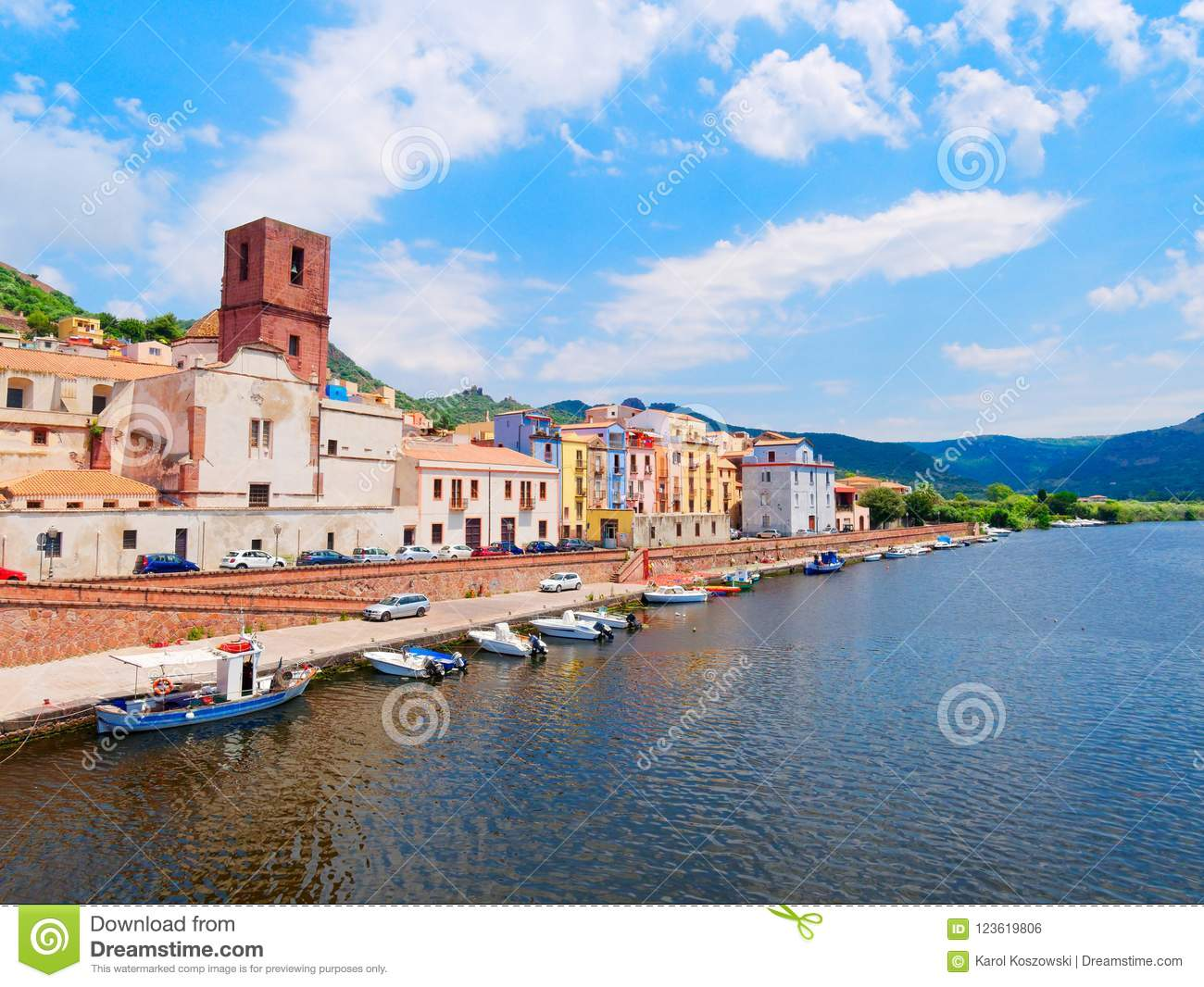River embankment in the city of Bosa with colorful, typical Italian houses. province of Oristano, Sardinia, Italy.
