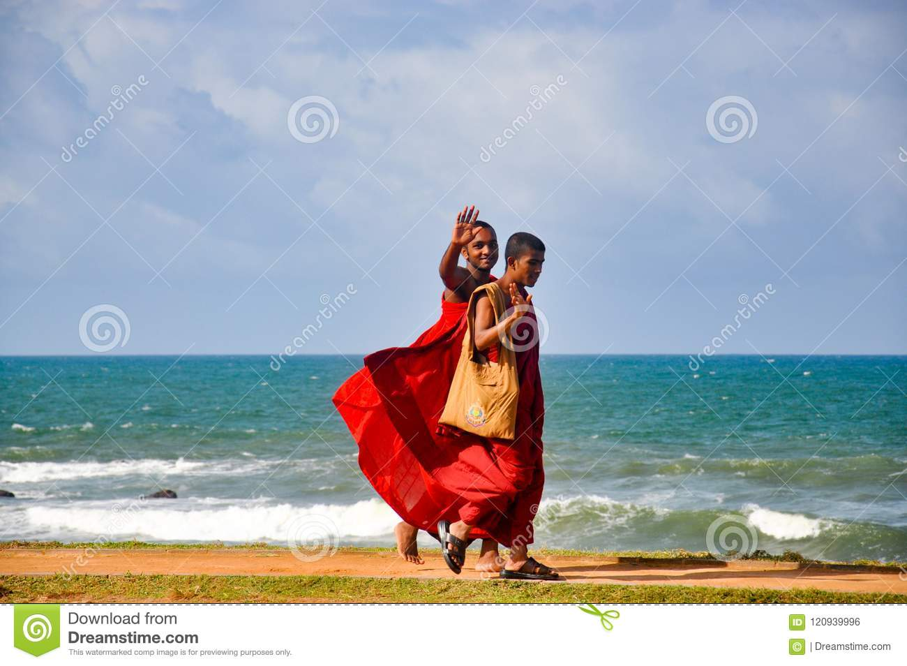 The monk on a river bank,Galle,Sri Lanka