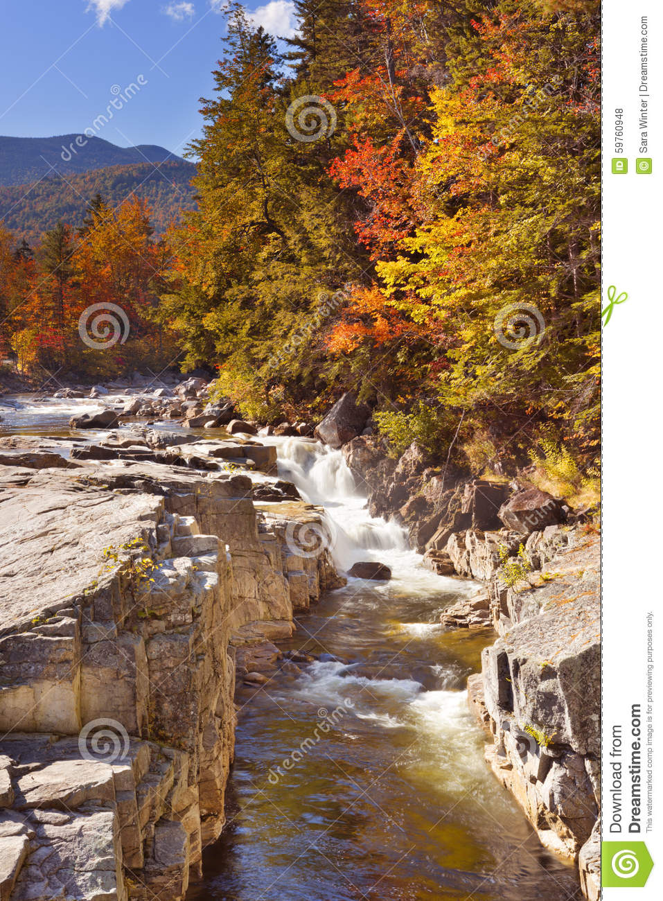 Download River Through Fall Foliage, Rocky Gorge, Swift River, NH, USA Stock Photo - Image of landscape, mountain: 59760948