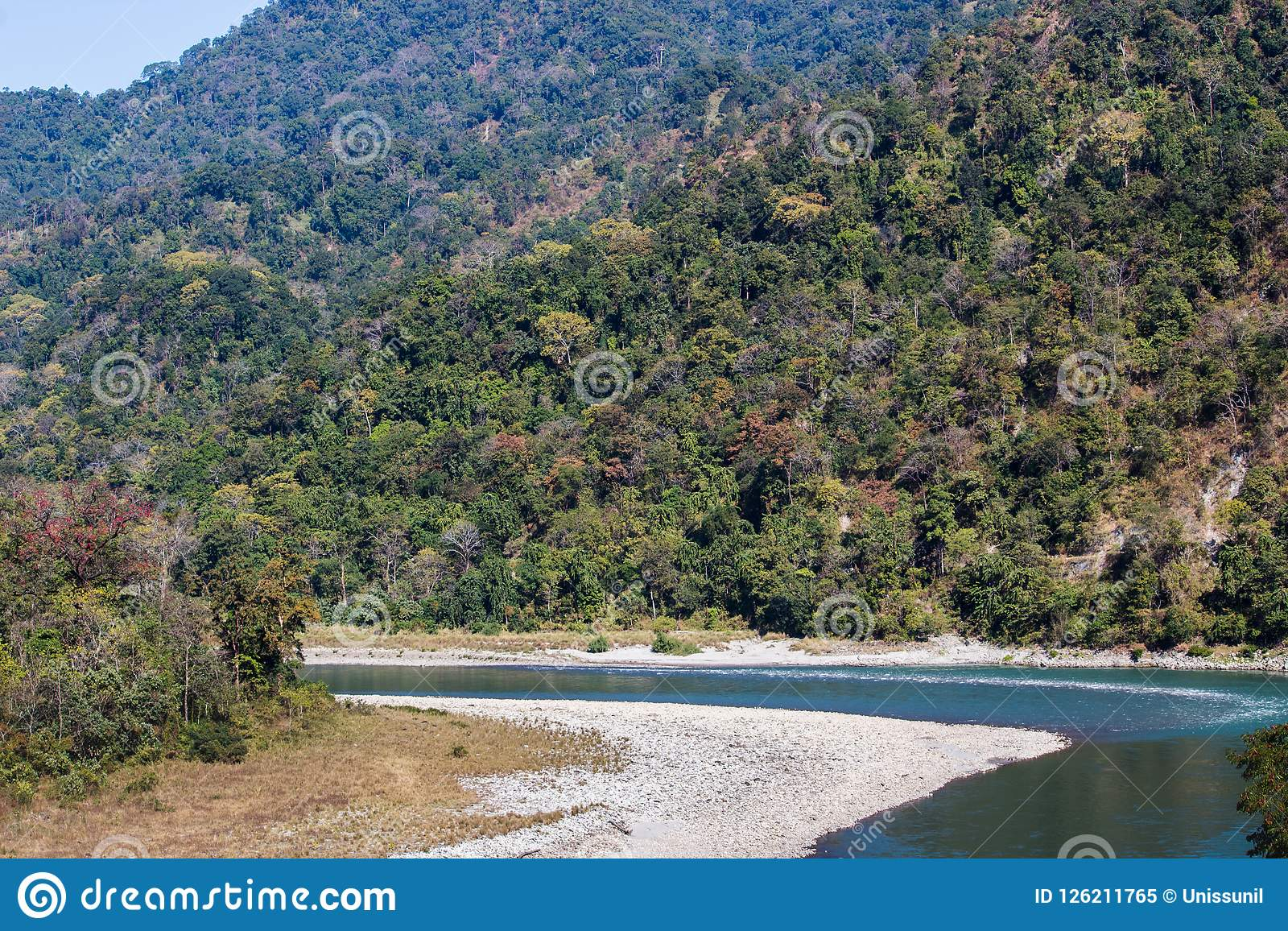 River flow between hills, Manas National Park, Assam, India