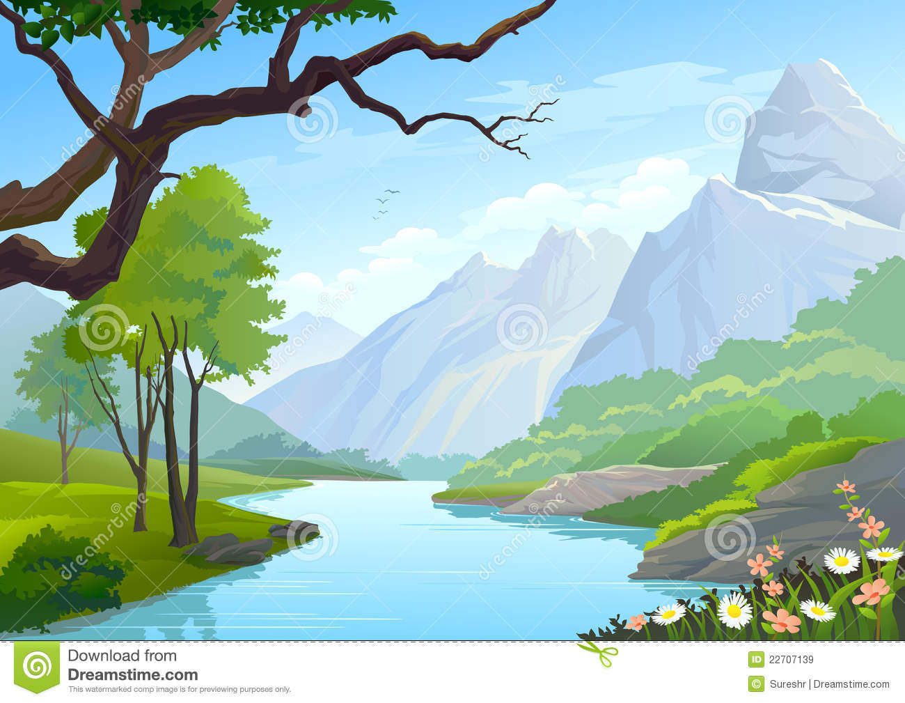 Through Hills And Mountain Royalty Free Stock Images - Image: 22707139