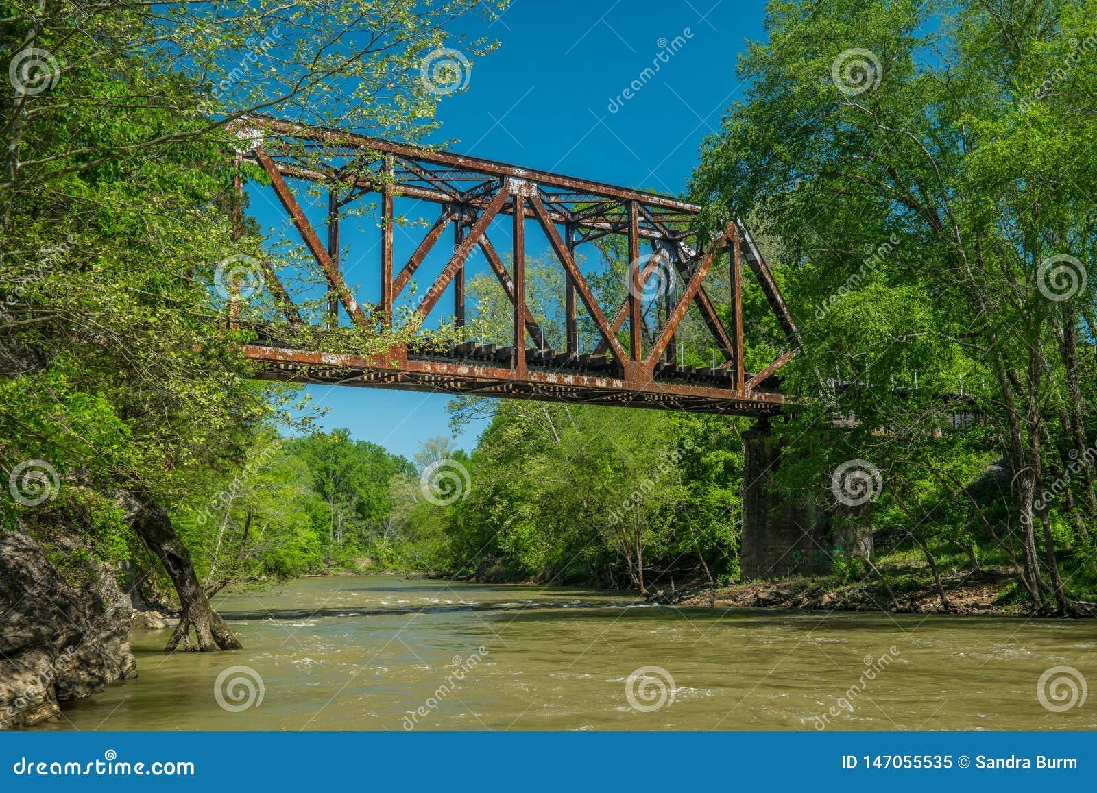 A river flowing underneath a train trestle