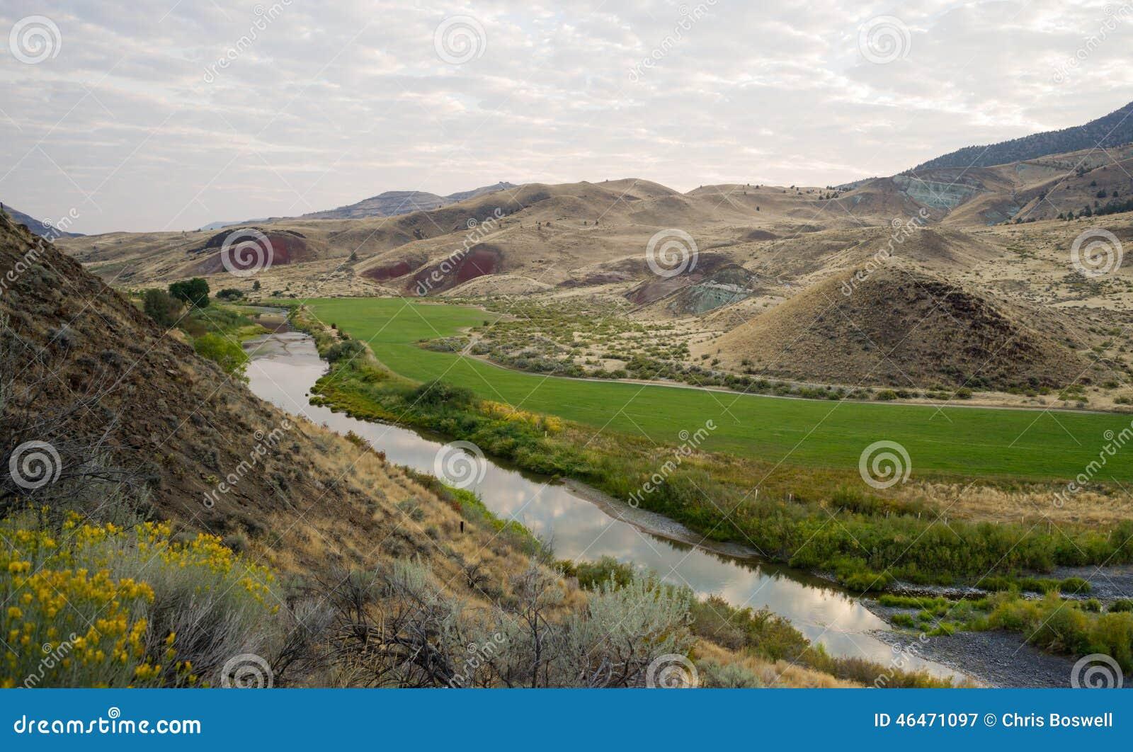 River Flows Through Farmland John Day National Monument