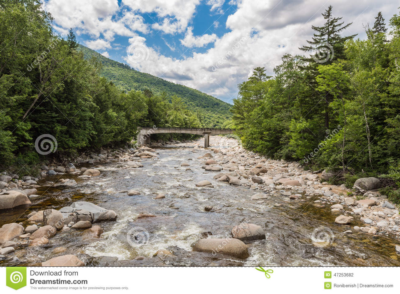 Download River Through Forest Near The White Mountains, A Bridge In Backg Stock Photo - Image of hike, cloudy: 47253682