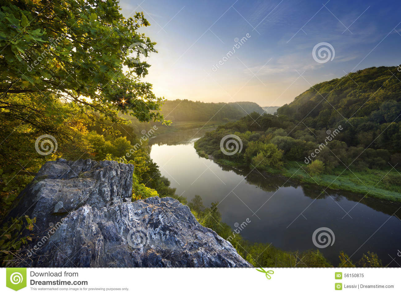 Vah river with sip hill in backgroung stock image for River hill