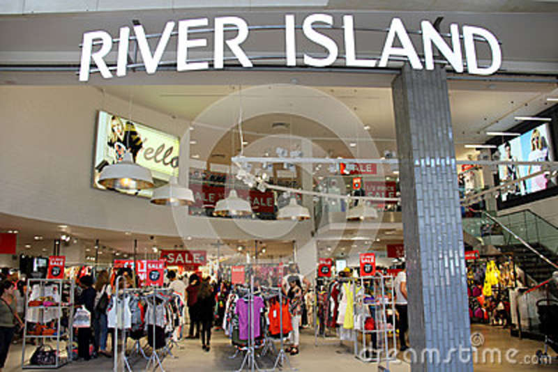 2eb5020c802 England kent - July 12, 2014: Entrance of River Island Store in Blue Water  shopping Mall in England.