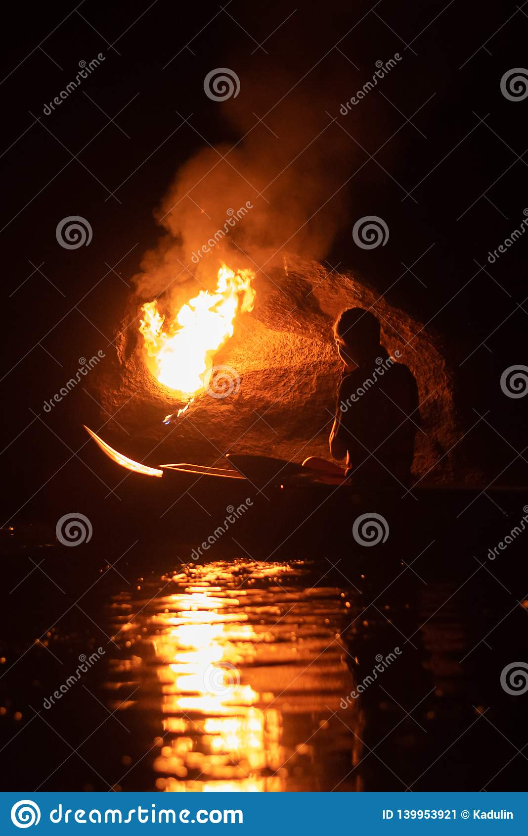 River keeper of fire  stock image  Image of boat, keeper - 139953921