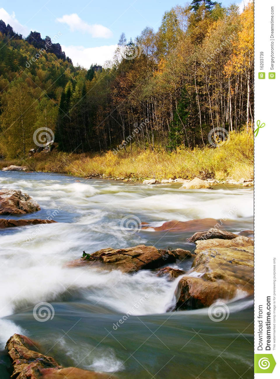 River Landscape In Autumn Time. Royalty Free Stock Images - Image