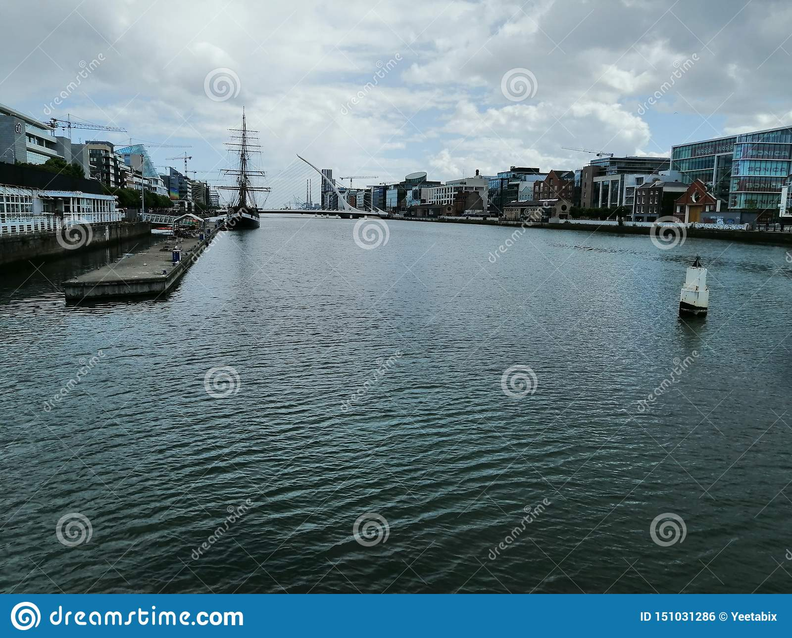 River Liffey With buildings in background