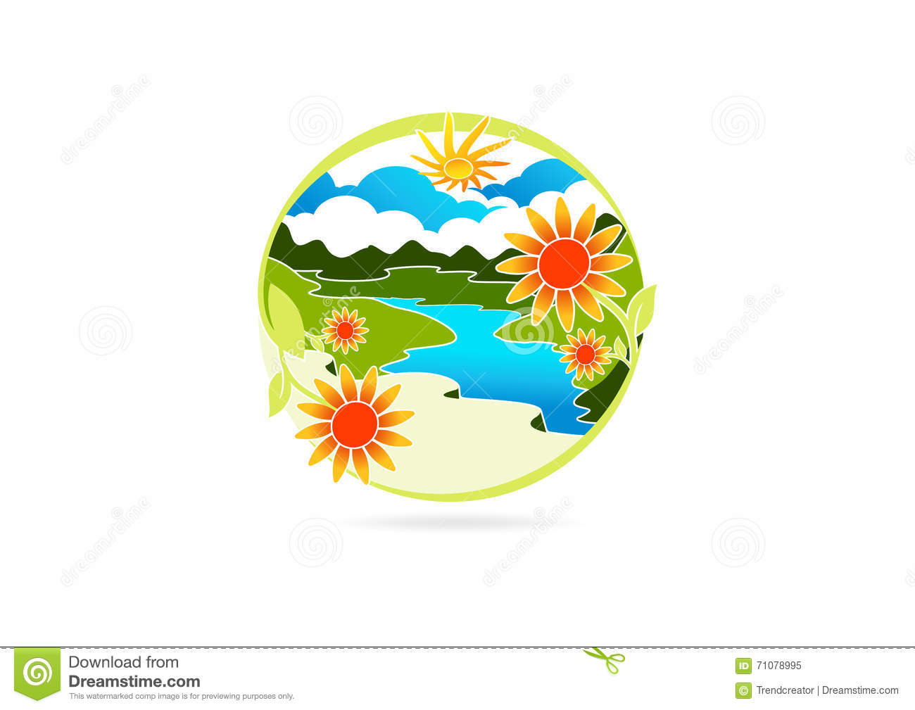 River logo flower leaf symbol nature mountain icon for Landscape design icons
