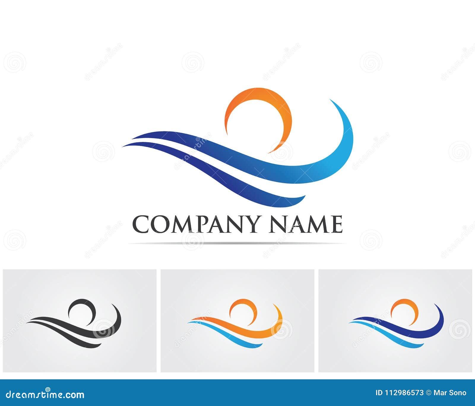 wave River Logo Template vector icon illustration..