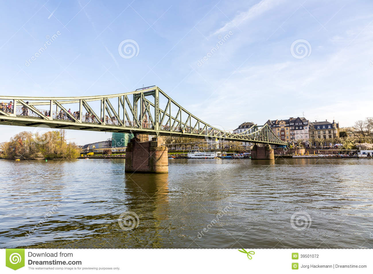 River Main with bridge Eiserner Steg in Frankfurt