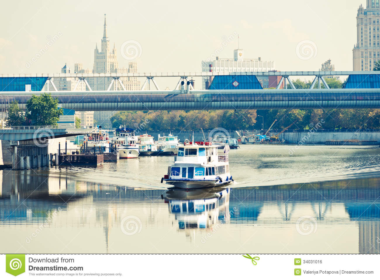 River motor ship on moscow river