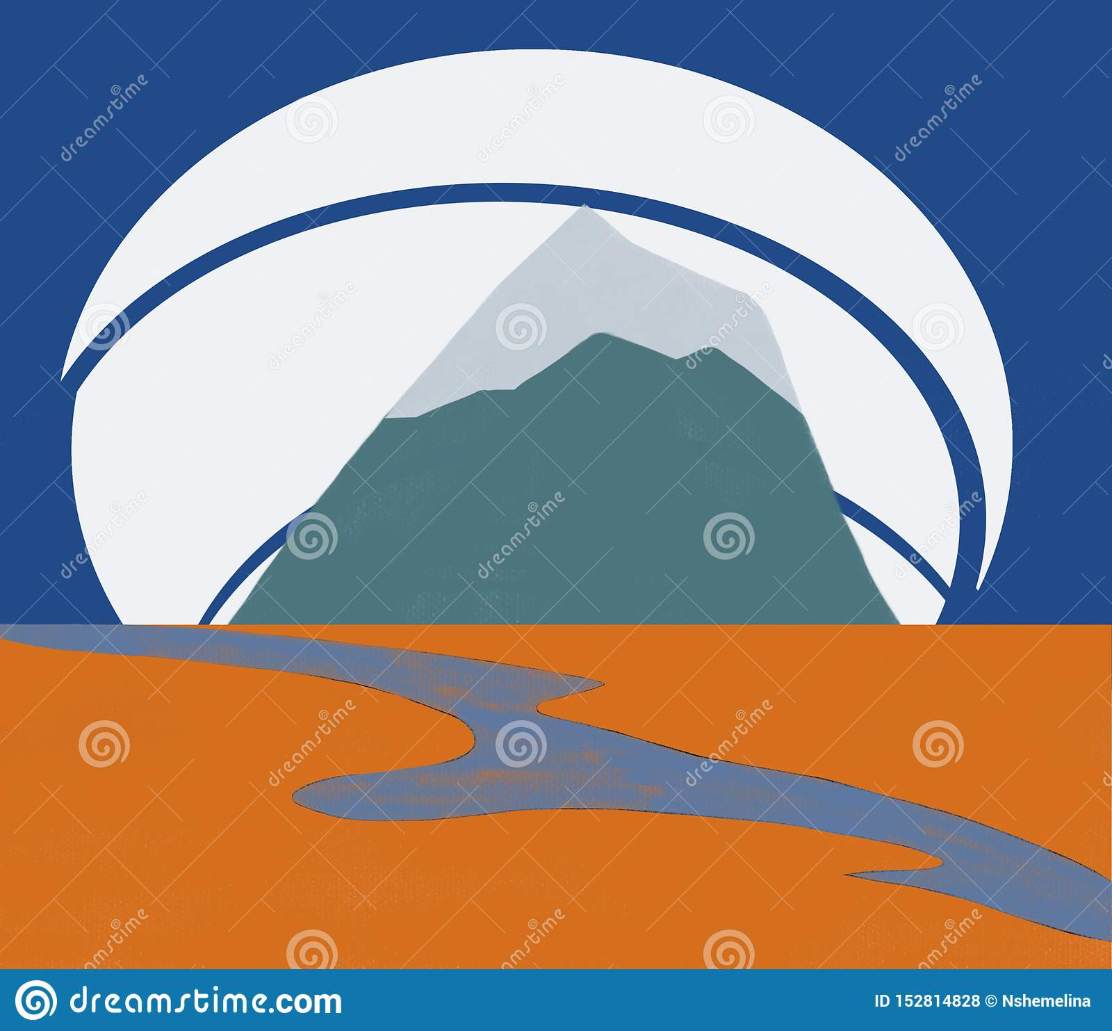 The river and mountain in the background, travel icon design