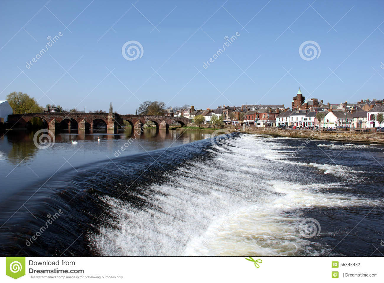 River Nith at Dumfries, Scotland.