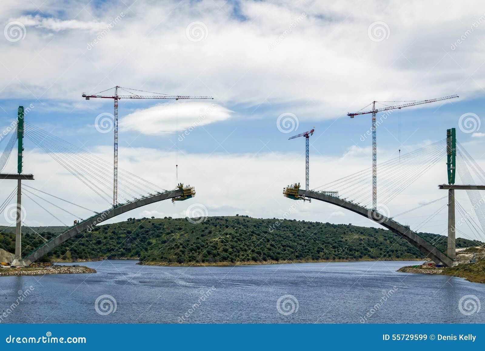 Download River Railway Bridge Under Construction In Spain Stock Image - Image of river, deck: 55729599