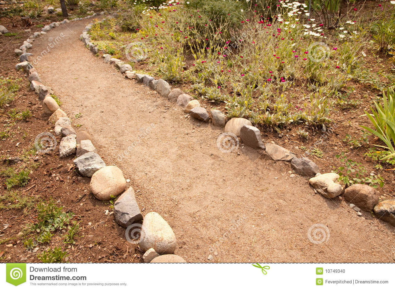 River Rock Lined Dirt Garden Path Stock Photo Image Of