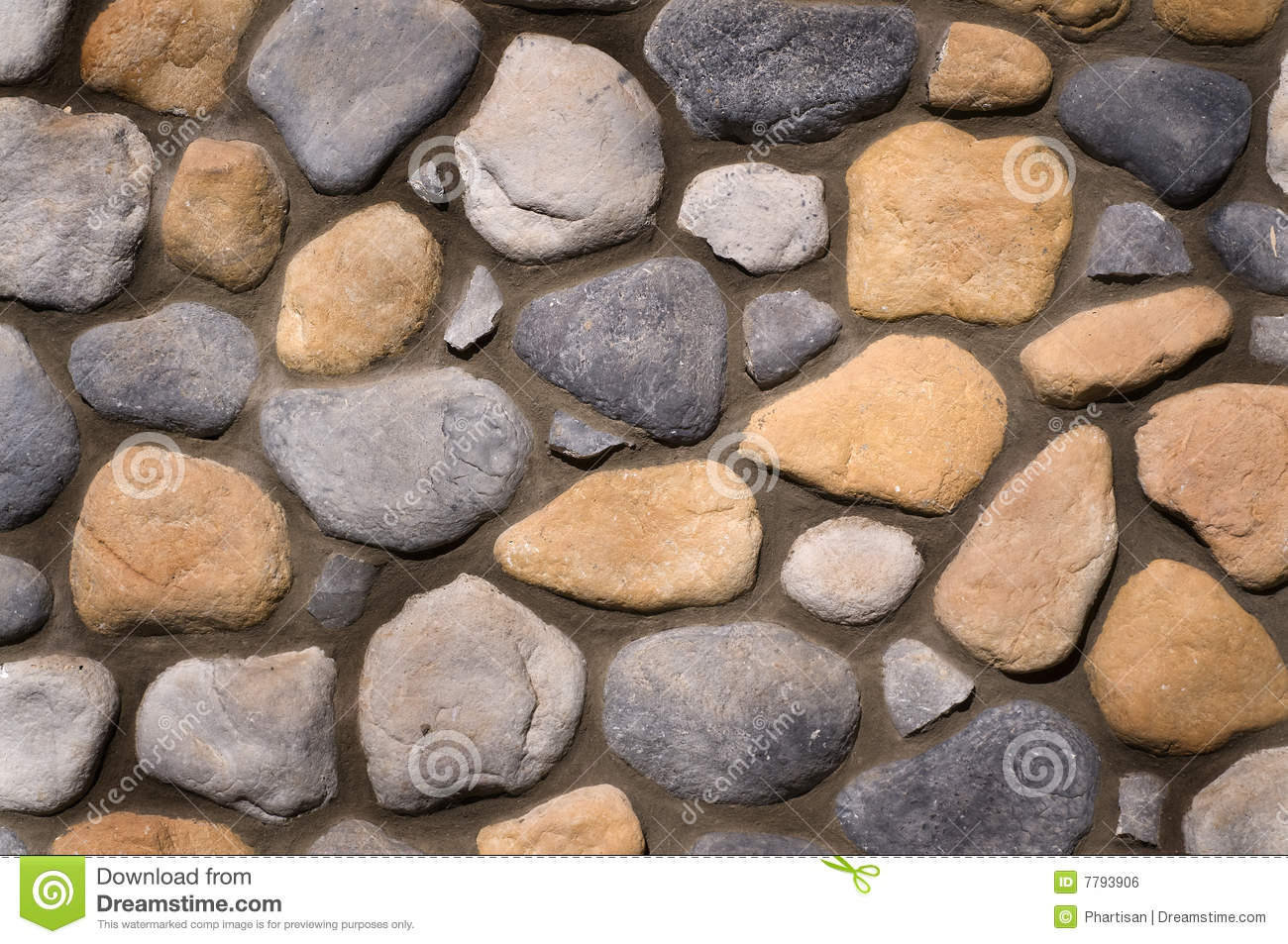 River Rock Wall Background Texture Stock Photo Image