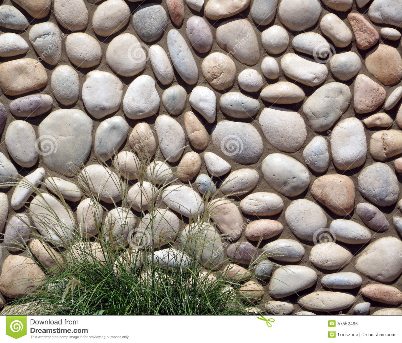 River rock wall with plant stock photo image 57552496 for River rock wall