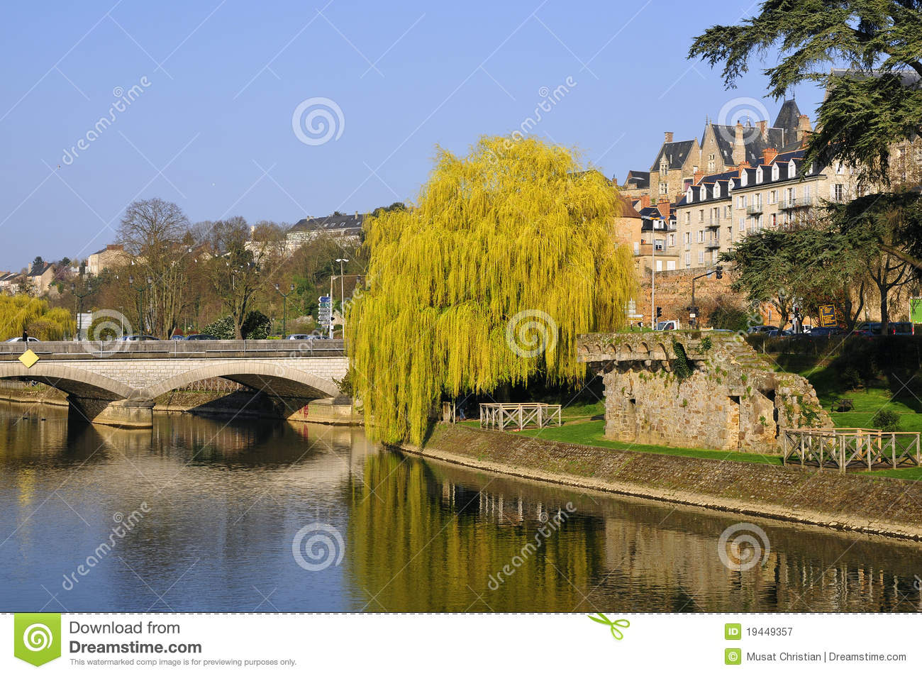 the river sarthe at le mans in france stock image image of tree manceau 19449357. Black Bedroom Furniture Sets. Home Design Ideas