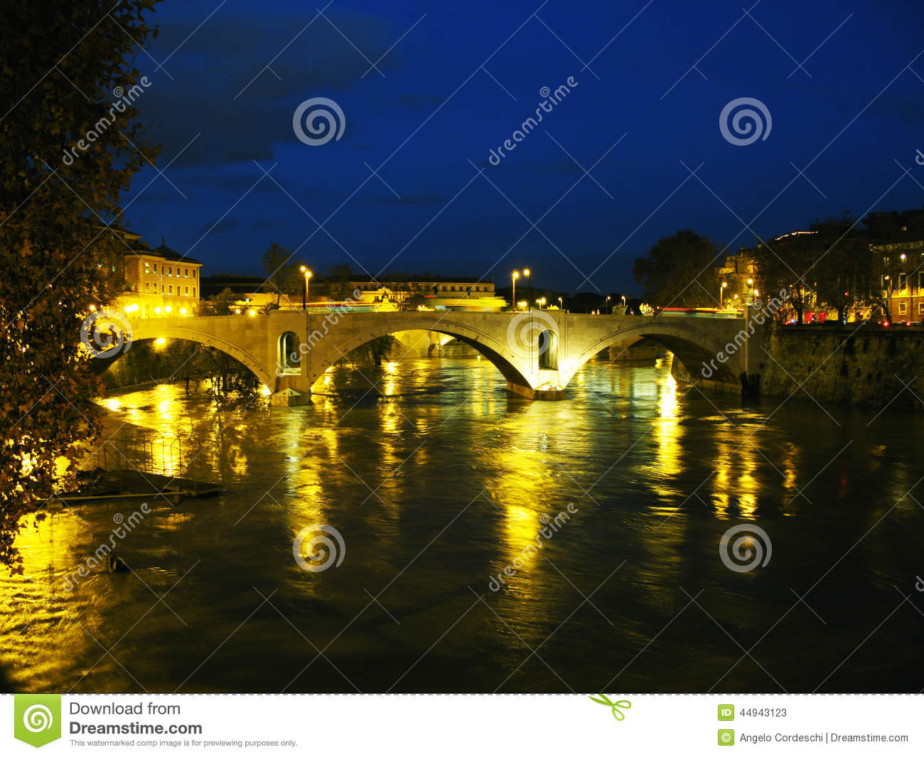 River Tiber at night. Bridige and buildings