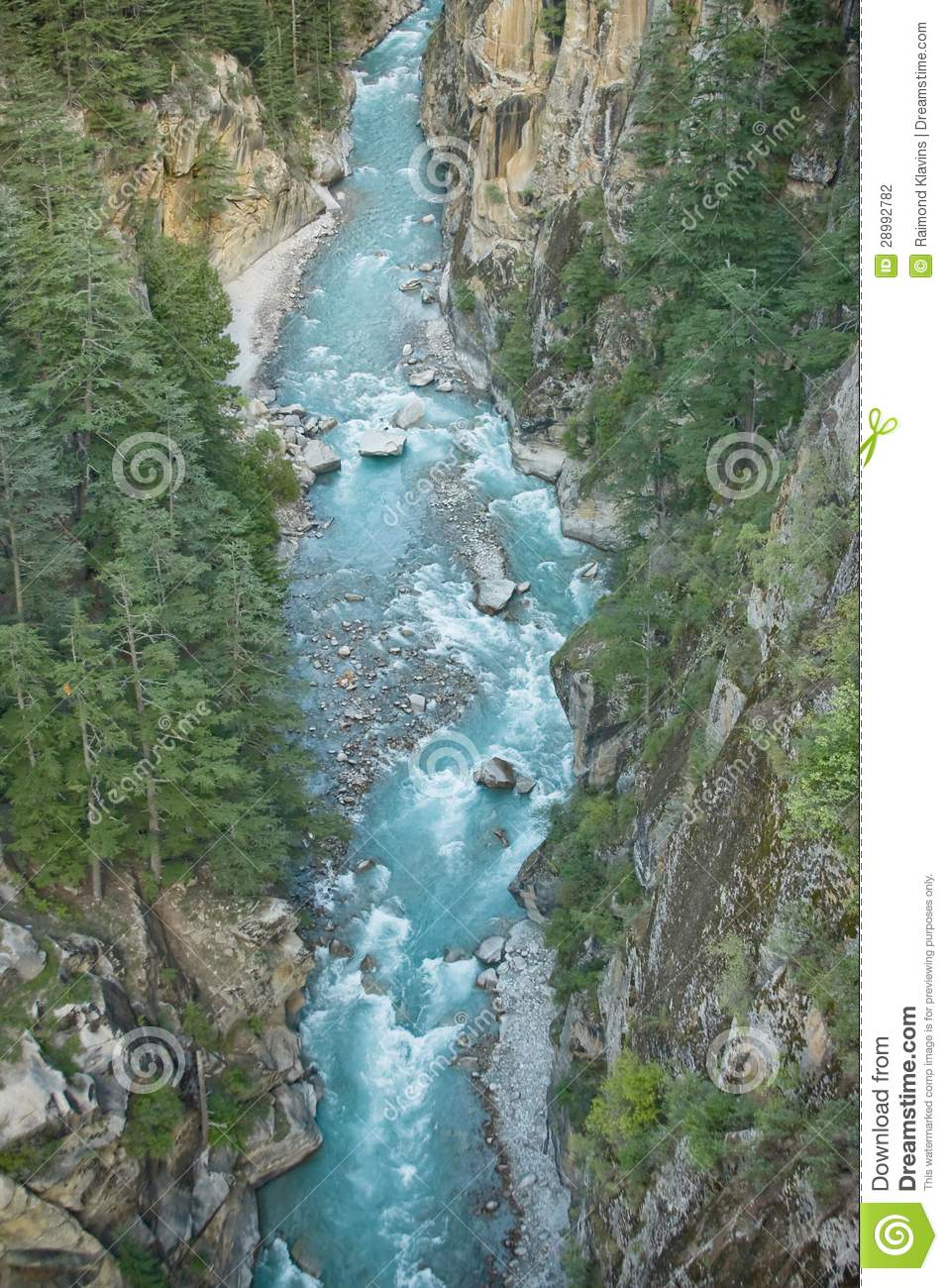 River in valley Himalayas mountains