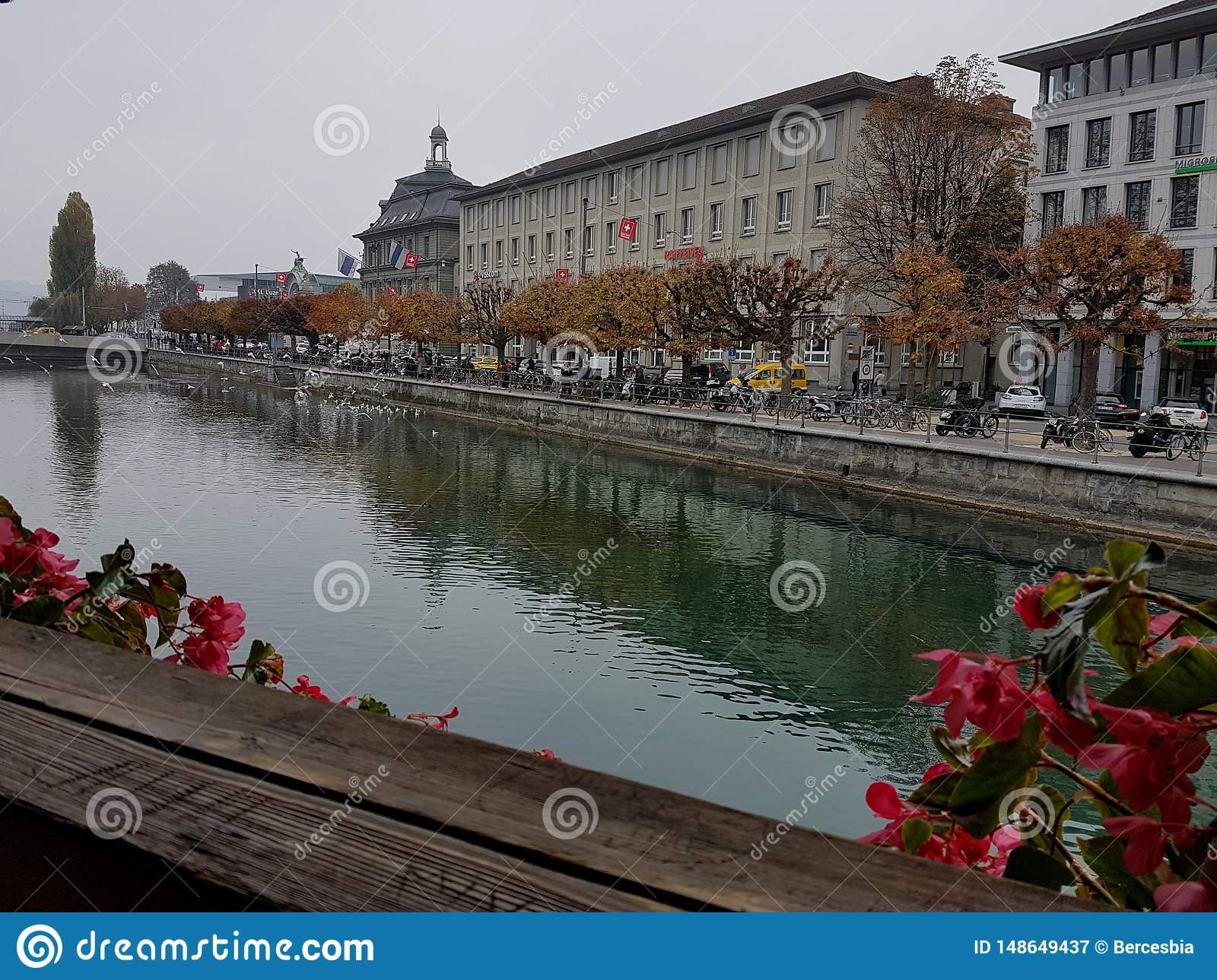 River view from Chapel Bridge, Luzerne, Switzerland.
