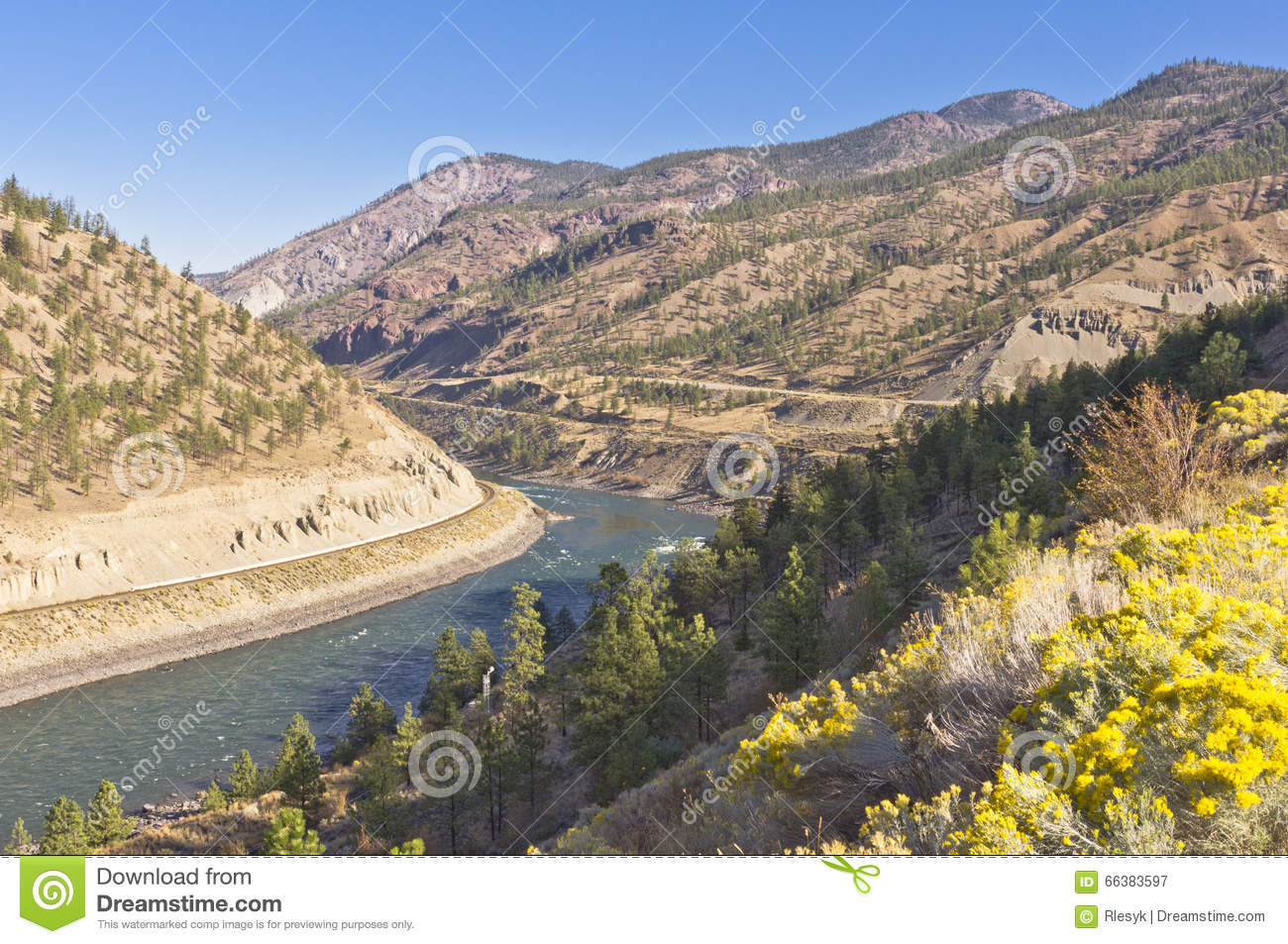 River winding through dry mountains