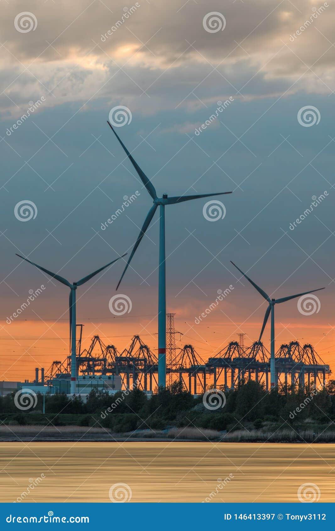 Riverbank met grote windmolens en silhouetten van containerkranen tijdens zonsondergang, Haven van Antwerpen