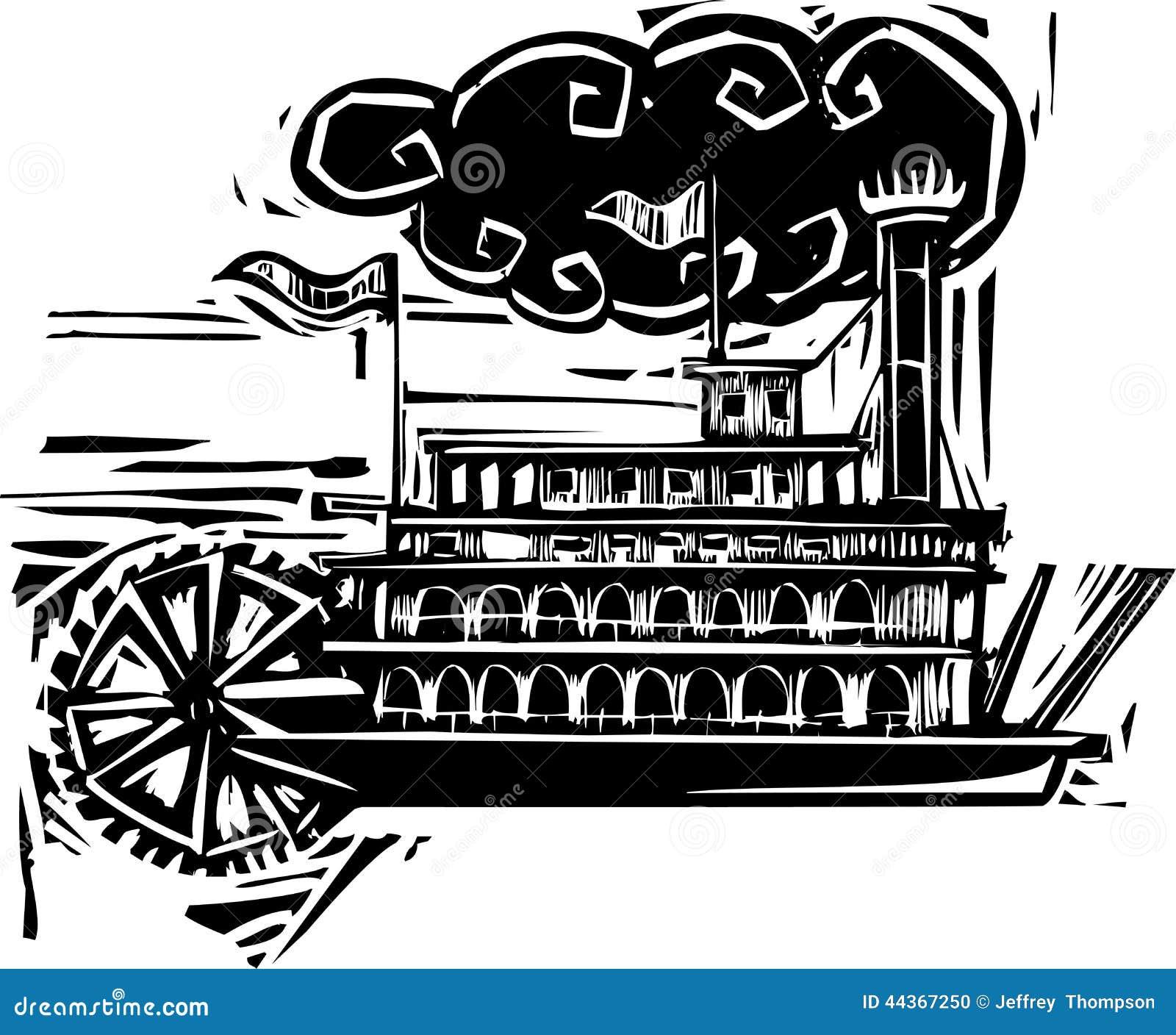 Riverboat severo della ruota dell intaglio in legno