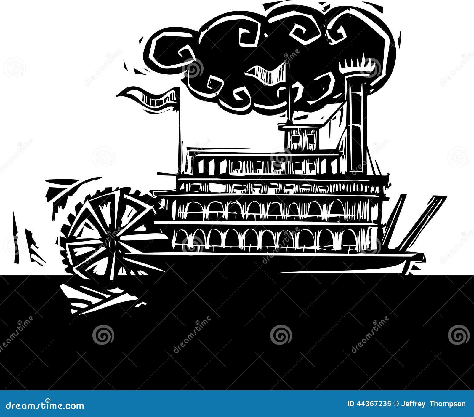 Riverboat severo della ruota in fiume scuro