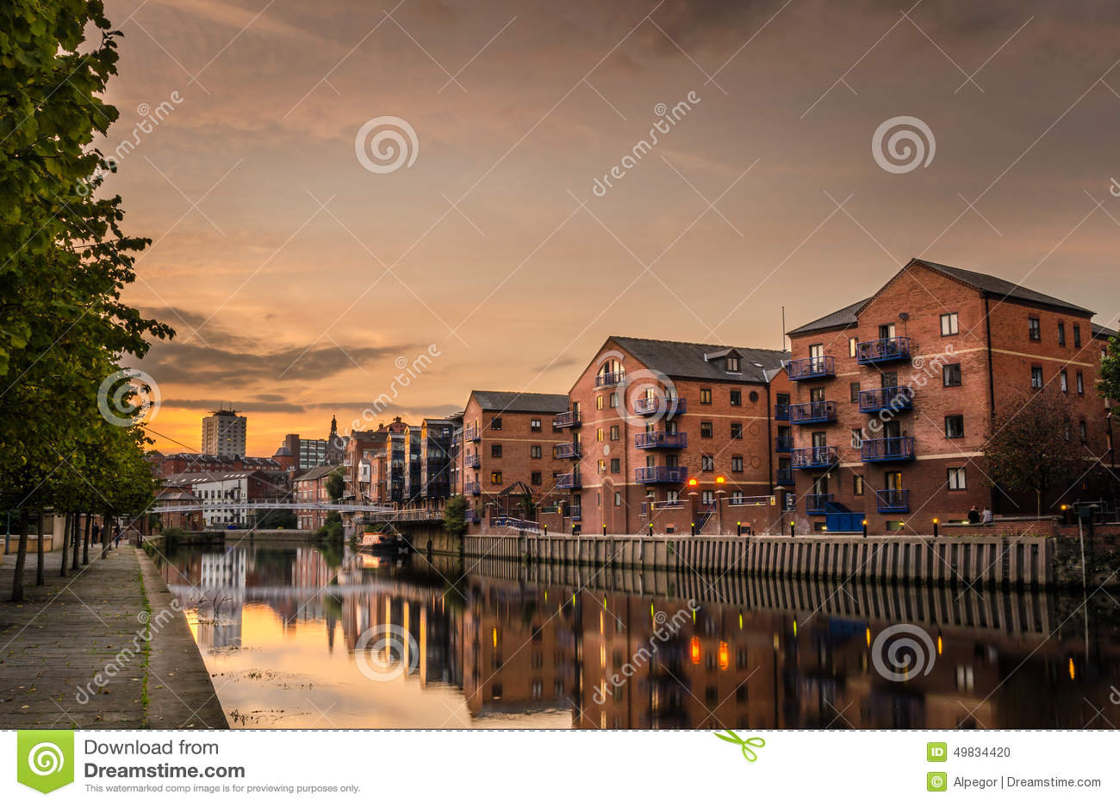 Riverside Buildings at Sunset