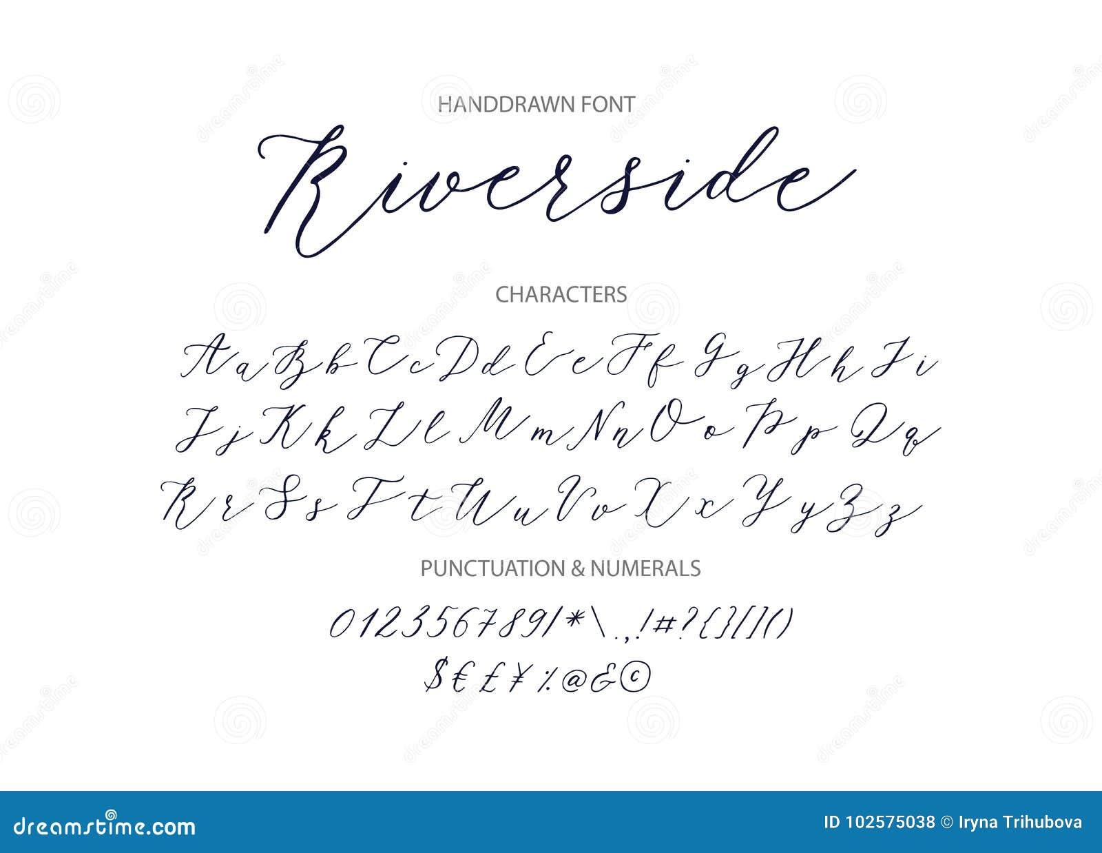 Riverside - Handwritten Script Font. Stock Vector ...