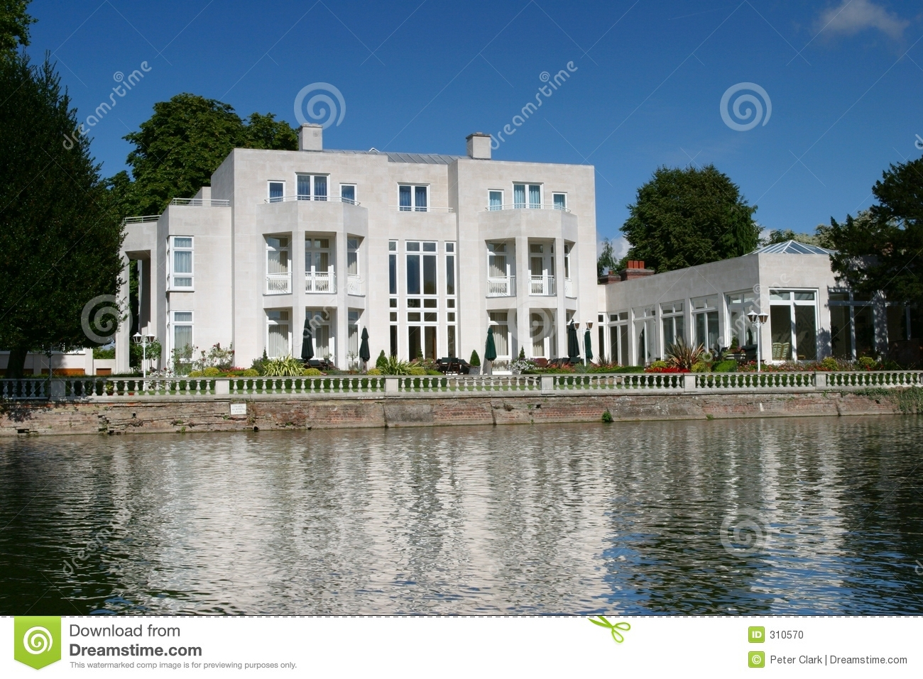 Modern Riverside Cafe Terrace In The Morning Royalty Free