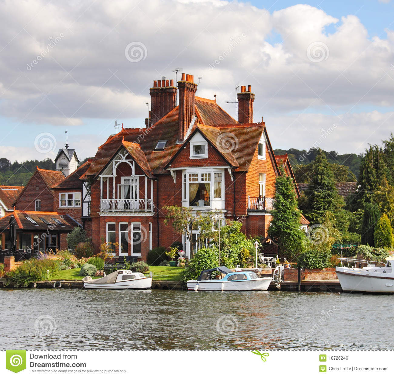 Riverside Houses And Moorings Stock Image